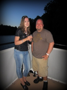 My friend Luke and I enjoy our cruise on the Rhine with wine!