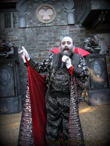 Let us begin with Count Vladtastic.  The show starts once this colorful character sets foot outside.  His dry wit and quick thinking add to the fun and whimsy of dinner at the Blood Banquet.