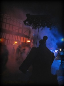 Smoke, shadow, reds and blues add horror to the silent and spooky headless ladies of White chapel London.